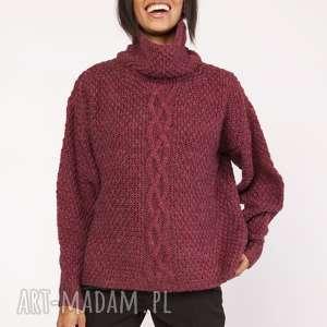 CIEPŁY SWETER Z WARKOCZEM, SWE115 BORDO, sweter, warkocz, ciepły, oversize, casual