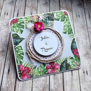 cynamonowe kartki ślubna egzotyka z drobiazgiem, życzenia ślubne, egzotyczna