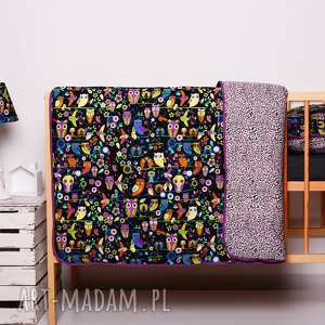 Pościel dziecięca z kołderką 110x125cm i poduszką 50x60cm SÓWKI black od majunto