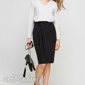 Ołówkowa spódnica z szarfą, SP115 czarny, czarna, casual, pasek, kokardka,