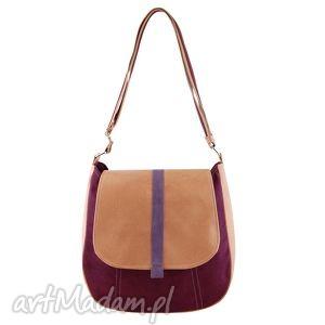sashka - torebka na ramię bordo, fiolet i beż, listonoszka, wygodna, praktyczna