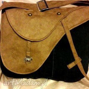 duża torba z siodłem, torba, recykling, siodło, jeans, konie, denim
