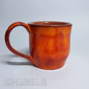 Kubek pomarańczowy, ceramika, glina, rękodzieło