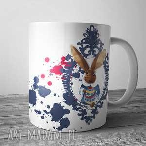 wielkanocny kubek z portretem zająca, kubek, prezent, wielkanocny, ceramika, zając