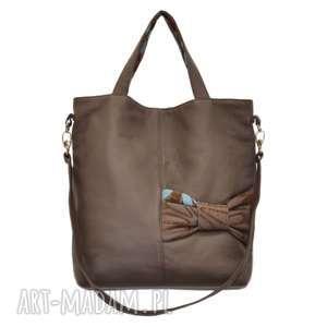 22-0005 brązowa ekskluzywna torebka damska z kokardą jay one, skórzane torebki