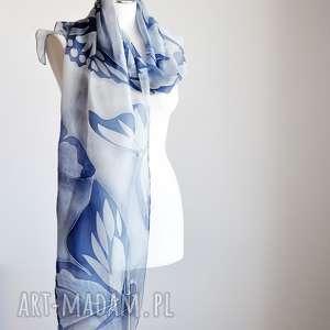 Malowany jedwabny szal -niebieskie motyle, jedwabnyszal, szalwmotyle