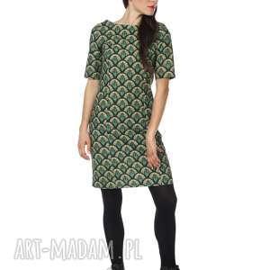 Sukienka pawie oczko bawełna Emerald Eye, paw, polska-marka, bawełna, ekstrawagancka