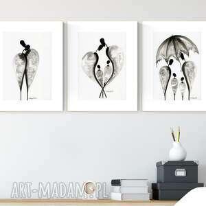 zestaw 3 grafik a4 ręcznie wykonanych, obraz do salonu, abstrakcja, 2490876