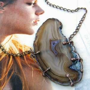 wisiorek z łańcuszkiem fioletowym agatem, kamieni, długi naszyjnik