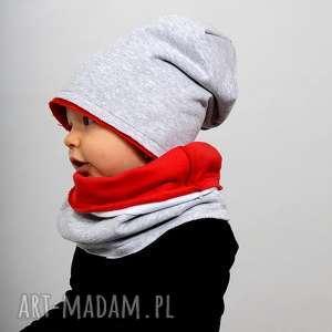 ubranka komin podwójny zimowy szaro-czerwony, bawełna, ciepła, zima, podwójna, komin