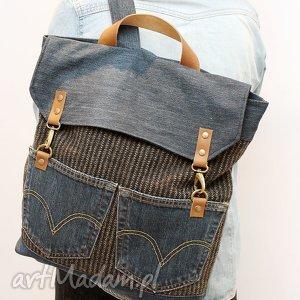 plecak, kieszenie, flisanna, jeans, skóra