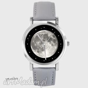 zegarek, bransoletka - księżyc szary, skórzany, księżyc, grafika