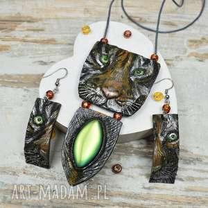 tygrys - oryginalny komplet biżuterii, tygrysy, biżuteria koty, tygrysy