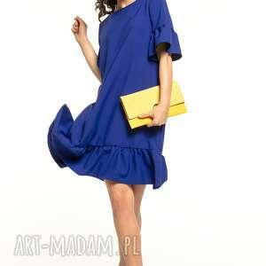 Letnia sukienka z falbanami, t315, granatowa sukienki tessita