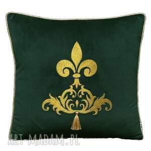 poduszki poduszka velvet złoty haft z chwostem wzór 2, haftem