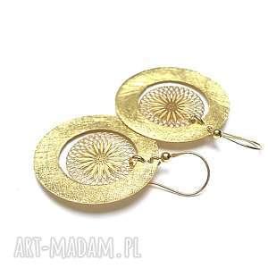 circle /rosette/ - kolczyki, srebro, pozłacane, koła, ażur, rozety