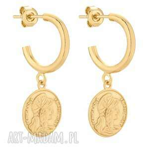 złote półkola m z monetami, eleganckie, medaliony, monety