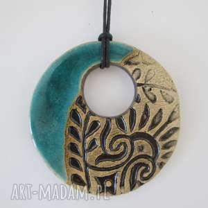 turkusowy etniczny wisior - ,ceramiczny,wisiorek,etno,indyjski,