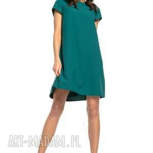 Sukienka z kontrafałdą na plecach, t261, szmaragdowy sukienki