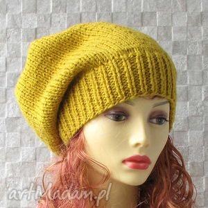 czapka zimowa musztardowa - ladies slouchy beanie, czapka, oversized, zima