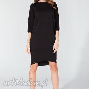 Sukienka midi z kieszeniami na biodrach T105 kolor czarny - TESSITA, elegancka,