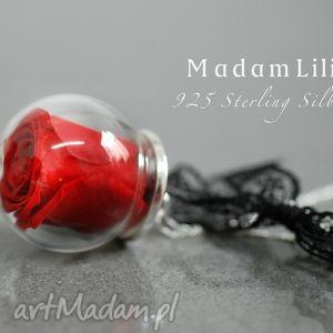 925 Sterling ♥ Róża Naszyjnik Część natury, róża, wstążka, natura, kwiat, ro