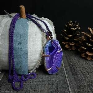 wisiorki wisior z fioletowym agatem biżuteria ezoteryczna, boho, duży