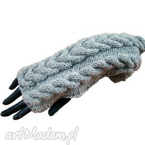 rękawiczki mitenki w warkocze i warkoczyki only gray, mitenki, szare, warkcze