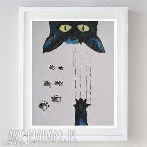paulina lebida niegrzeczny kot -akwarela formatu a4, kot, papier, akwarela