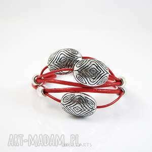 bransoletka - czerwona, ornament skórzana, rzemienie, bransoletka, elegancka