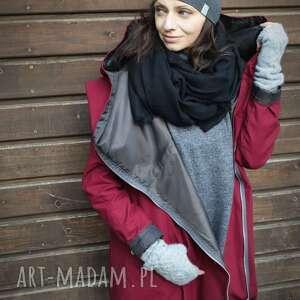 Bordowy płaszcz, kurtka oversize ogromny kaptur na jesień zimę