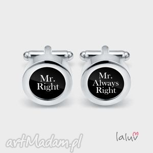 eleganckie spinki do mankietów mr right - wesele, ślub, śmieszne, racja