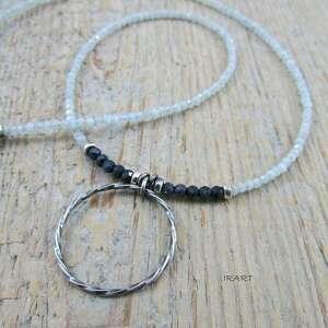 koło z szafirem i akwamarynem -naszyjnik (akwamaryn, szafir srebro)