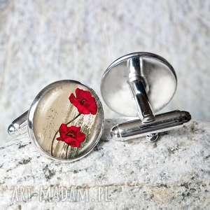 spinki do mankietów - maki, do-koszuli, kwiaty, mak, eleganckie, modne, polne-kwiaty
