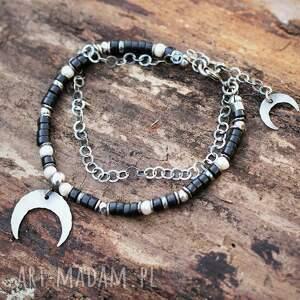 księżyc nocą - bransoletka z onyksem, onyks, czarny lunula, półksiężyc
