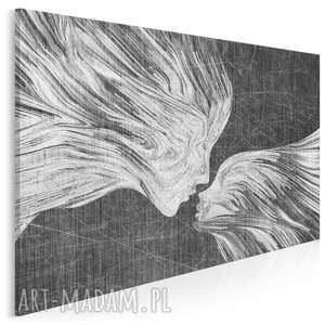 obraz na płótnie - twarze pocałunek 120x80 cm 13504, twarze, abstrakcja
