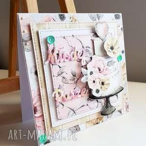 kartka ślubna - młodej parze z tortem, ślub, młoda para, kartka, scrapbooking