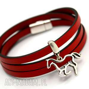 handmade bransoletki bransoletka skóra magnetoos triple horse red