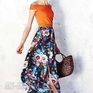 spódnica maxi w malowane kwiaty, spódnica, kwiatowa, wiskoza, maxi, wesele