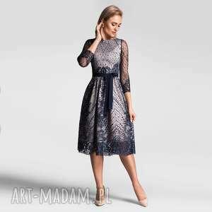 sukienka tina midi konstancja podkład ecru, koronkowa sukienka, koronka