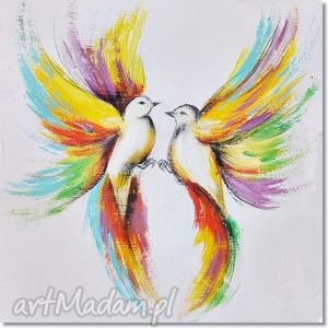 hand-made obrazy tęczowe ptaki, nowoczesny obraz ręcznie malowany
