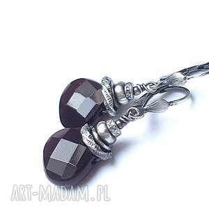 mahoniowe kropelki, srebro, kwarc, kamienie biżuteria
