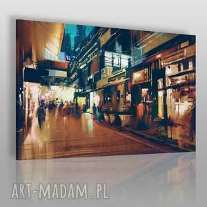 obraz na płótnie - miasto ulica 120x80 cm 22401 , ulica, miasto, przechodnie