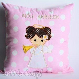 Poduszka z aniołem - dziewczynka, poduszka, anioł, dziecko, chrzciny, komunia, roczek