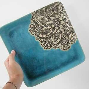 dekoracyjny talerz z koronką, ceramiczny, talerz, koronkowy