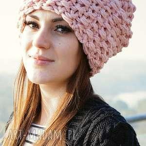 czapka 34 - czapa, różana, grubyścieg, gruba, dziergana, merino