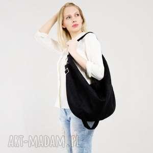 Czarna torebka zamszowa worek hobo na ramię bags philosophy