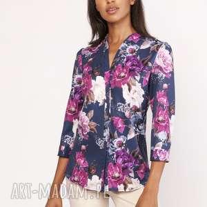 Lekka koszula o luźnym kroju, K111 kwiaty, koszula, wzór, elegancka, stójka,