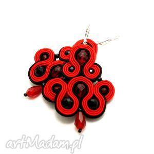 kolczyki / klipsy sutasz czerwono-czarne, soutache, sznurek, eleganckie, wieczorowe
