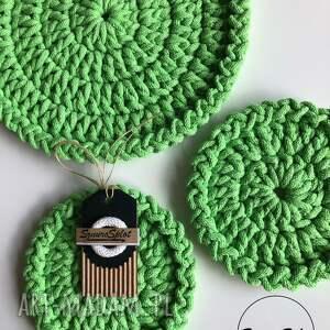 podkładki komplet trzech szydełkowych podkładek ze sznurka bawełnianego